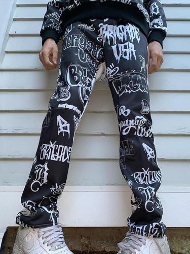 Black letter casual mens trousers TT010
