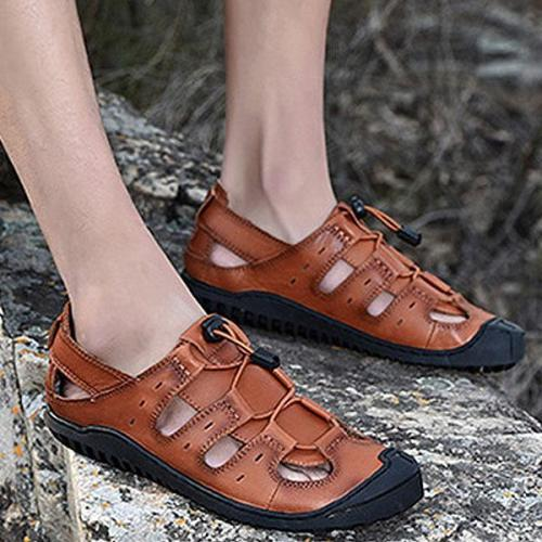 Mens Hollow-out Lace-up Casual Sandals Beach Shoes