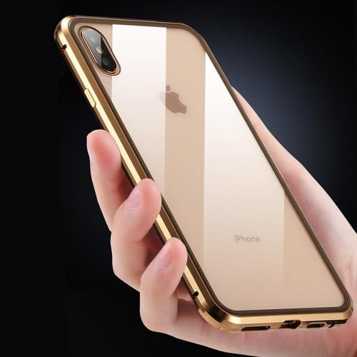 360 Full Protection Metal Case For iPhone X XS XR XS Max Front + Back Clear Tempered Glass Case For iPhone Magnet Cover