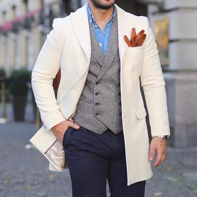 Mens Fashion Solid Colour Lapel Overcoat