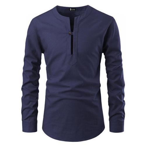 One-button V-neck Long Sleeve T-Shirt