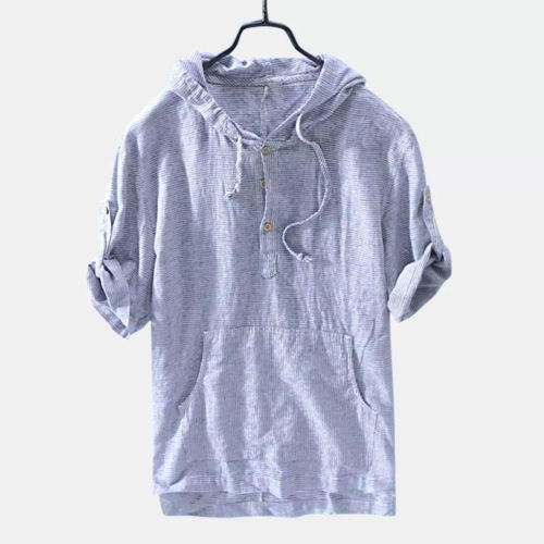 Mens Summer Breathable Half Sleeve Hoodies T-shirt