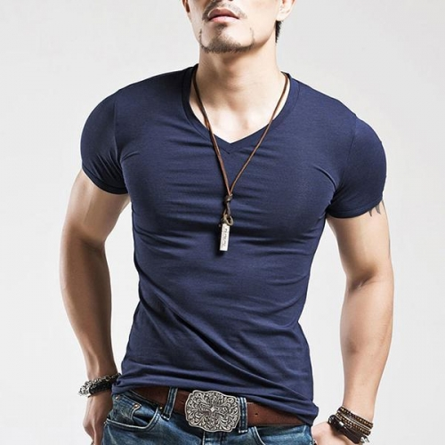 Men's Solid Color Casual Skinny V-neck T-Shirt