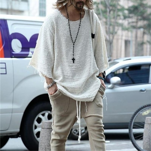 Fall/winter Men Solid Color Round Neck Knit Tees