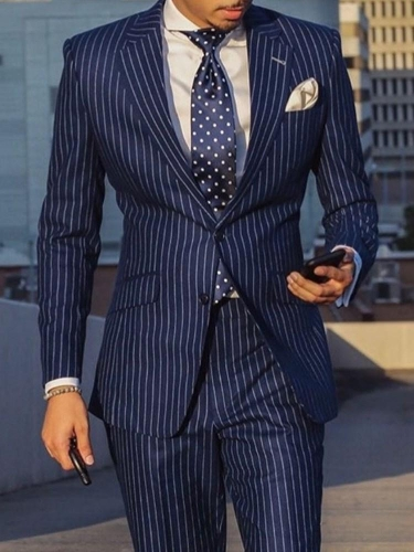 Notched Lapel Stripe Slim leisure Suit
