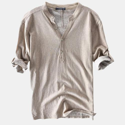 Spring/Summer Mens Casual Breathable Solid Color Half Sleeve Buttons T-Shirts