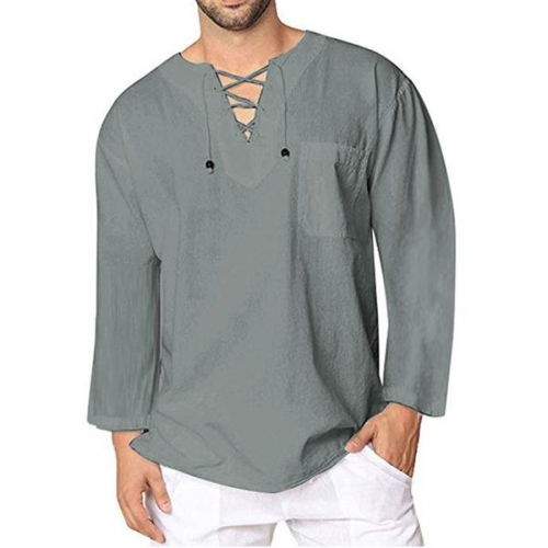 Lace Up Men's Solid Color Casual Shirt