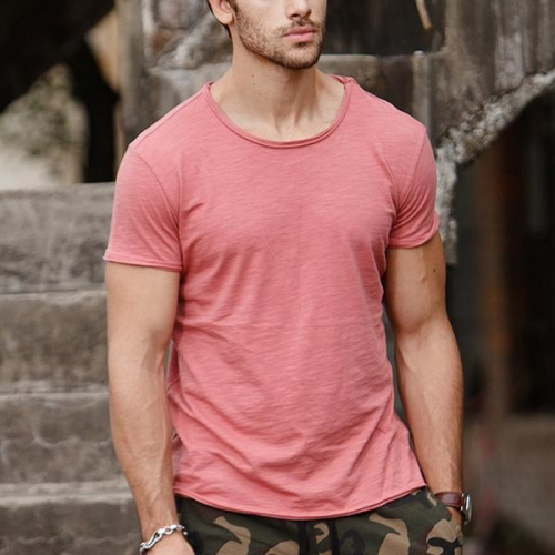 Men's V-Neck Slim Fit Pure T-Shirt