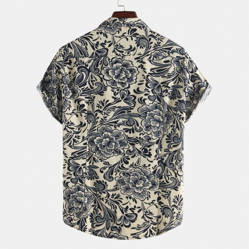 Mens Ethnic Style Ptinting Loose Turndown Collar Short Sleeve Casual Shirts