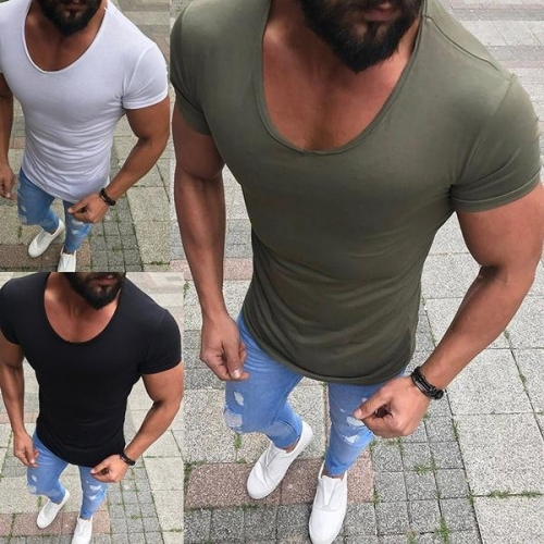Mens Summer Fashion Slim T-shirt