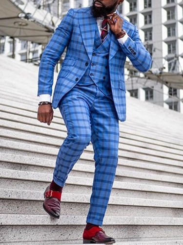 Casual Slim Plaid leisure Suit
