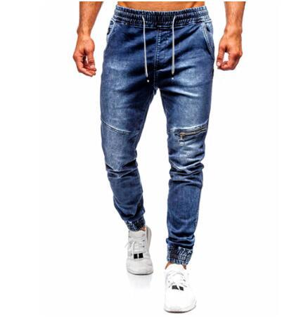 Men's Casual Jeans with Single Zipper At Knee and Elasticated Feet Wash Denim Trousers