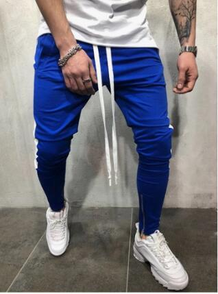 Men's Casual Sports Pants Spliced Color Hip Hop Fitness Foot Zipper Stitching Pants
