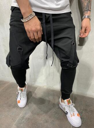 Men's Sweatpants Lanyard Hip Hop Joggers Big Pocket Ankle Banded Sweatpants Pencil Pants