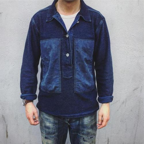 Men's Casual Denim Stitching Shirt