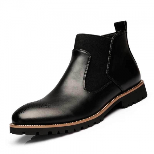 Fashion Mid-High Leather Plain Martin Boots