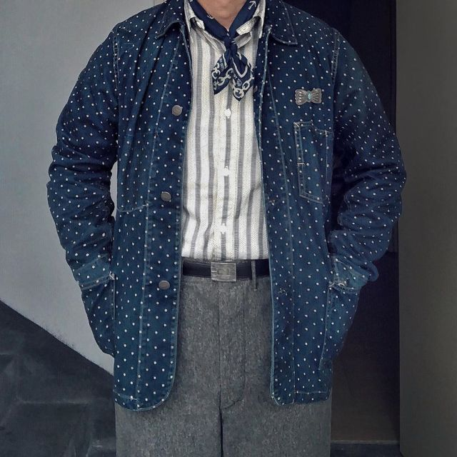 Men's Pocket Print Polka Dot Coat