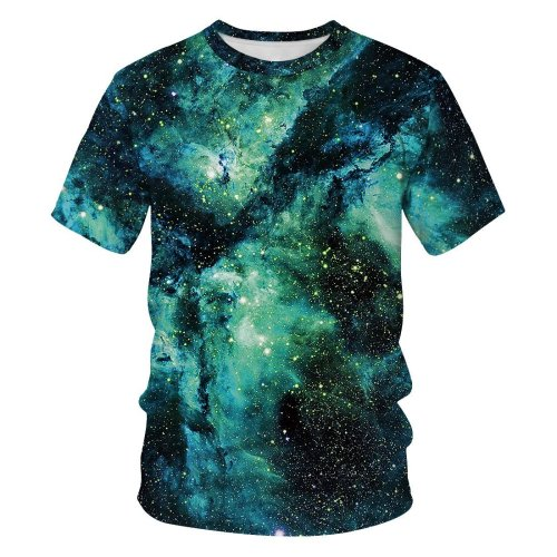 3D Galaxy Printed Funny Men T-shirt Loose Casual Novelty Short Sleeve Tees Top