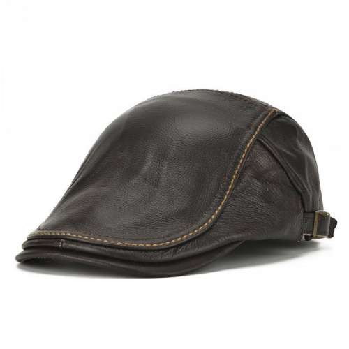 Mens Genuine Cowhide Beret Hat Casual Windproof Warm Forward Adjustable Caps
