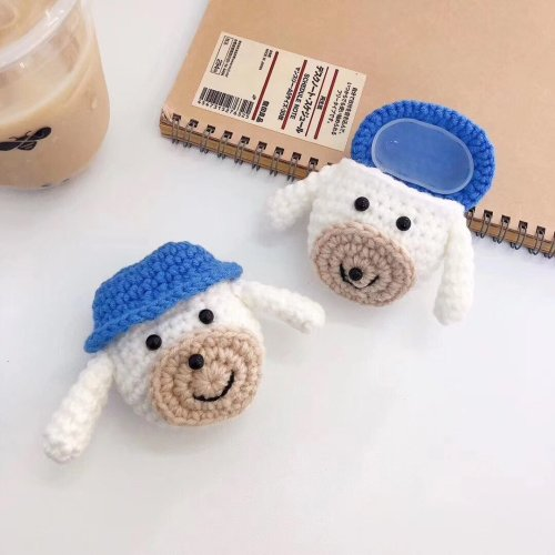 Kawaii Dog Handmade Knitted Plush Doll Winter AirPod Case