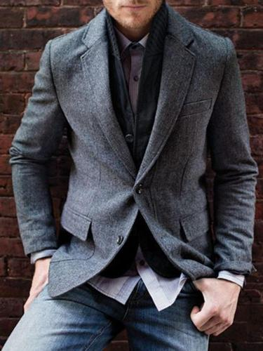 Men's Casual Pure Color Long Sleeve Blazer