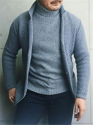 Fashion Men's Solid Color Long Sleeve Knit Top