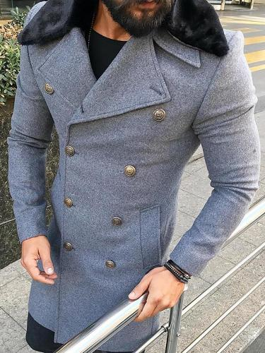 Fashion Double-Breasted Fur Collar Mid-Length Coat