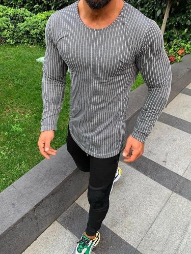 Casual Basic Section Stripe Round Neck Long Sleeve T-Shirt