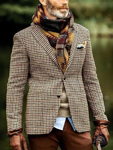 Fashion Narrow Notch Lapel Plaid Blazer