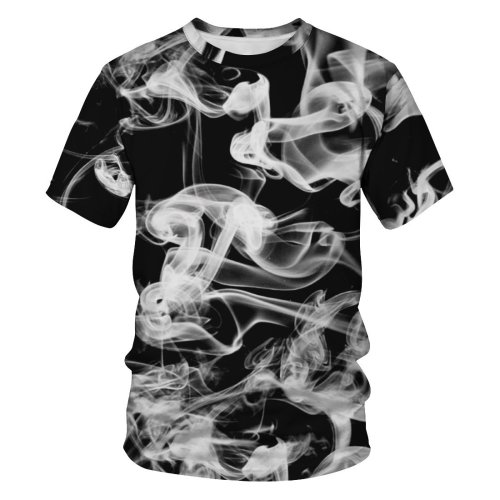 3D Smoke Printed Funny Men Fashion Short Sleeve T-shirt Tee Tops