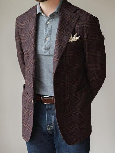 Men'S Lapel Single-Breasted Plaid Blazer