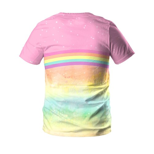 Cute Unicorn Printed Round Neck Pullover Short Sleeve T-shirt