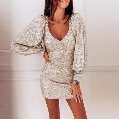 Sexy beaded long sleeves v neck dress