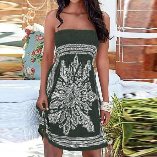 Fashion Print Strapless Sexy Dress Summer Sleeveless Mini Casual Dress Women Strapless Floral Bohemian Casual Mini Beach Dress