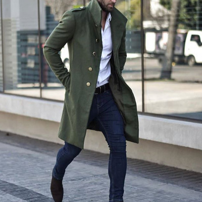 Men's British Casual Coat In Solid Color Mid-length Coat