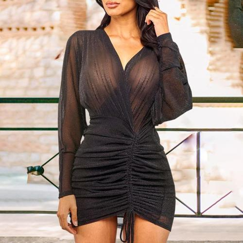 Fashionable V-Neck Solid Color Long Sleeved See Through Dress