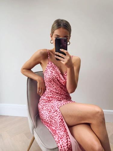 Sexy Long Dress Party Dresses V neck Polka Dot Split Sleeveless Spaghetti Summer Dresses 2020 Elegant Dress Female Robe Vestido