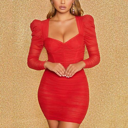 Sexy long-sleeved solid color double layer gauze dress