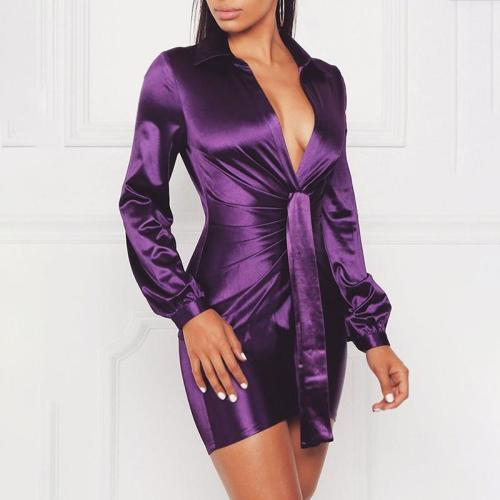 Sexy Pure Color Deep V Long Sleeve Dress