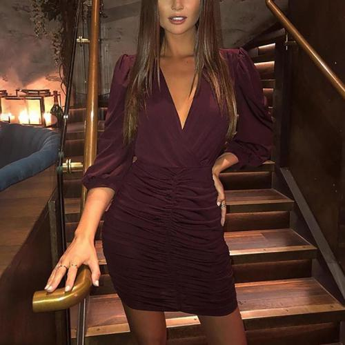 Fashion Solid Color Long Sleeve V-neck Halter Back Pleated Dress