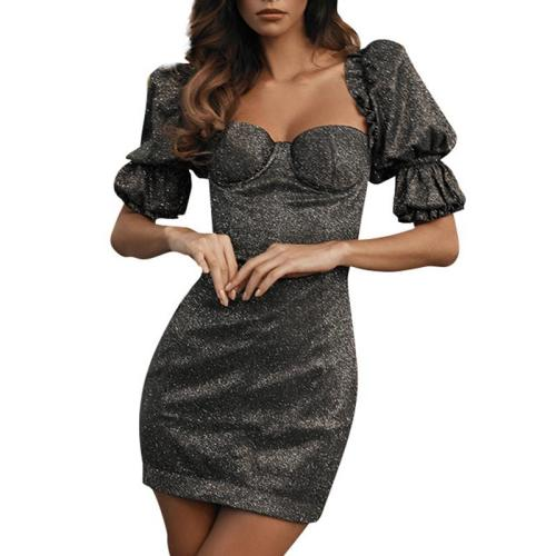 Finalpink Women's Fashion Puff Sleeve Backless Dress