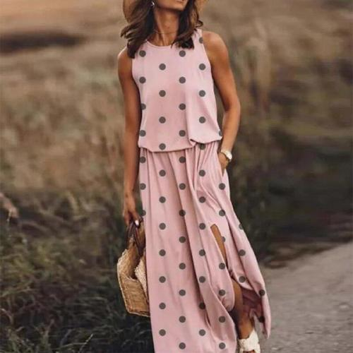 Sexy Sleeveless Long Dress O-Neck Party Print Split Beach Maxi Dress