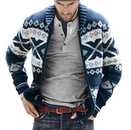 Men's Winter Warm Christmas Sweater Fashion For Male Fleece Lined Thick Thermal Tops Outerwear