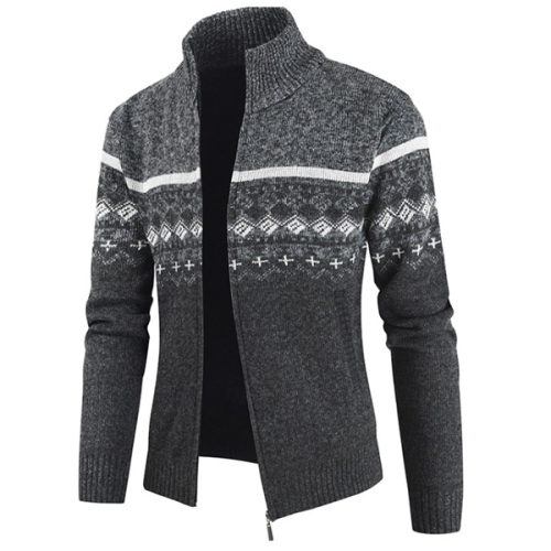 Winter Stand Collar Sweater Coat Men Thick Fashion Casual Sweater Cardigan