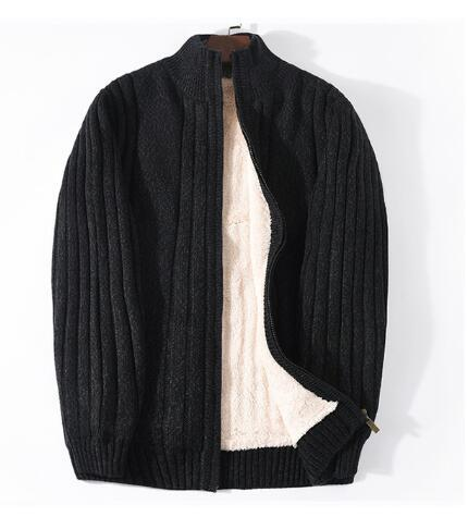 Lamb Cashmere Winter Men Sweaters Knitted Black Cotton Polyester Thicken Warm Cardigan