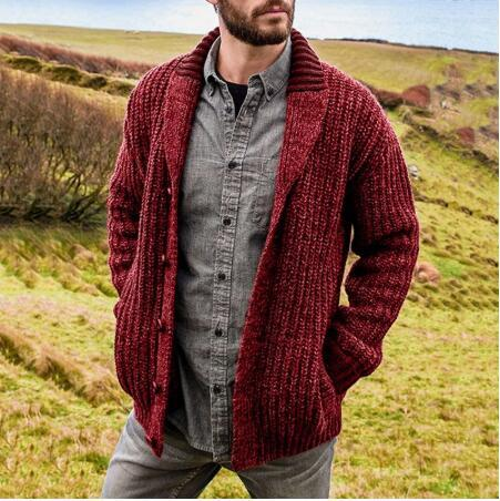 Sweater Men Autumn Winter Cardigan Coats Male Thick Faux Fur Wool Mens Sweater Jackets