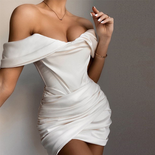 Blush Satin Ruched Women's Mini Corset Dresses Bodycon Party Night Club Off Shoulder Dress