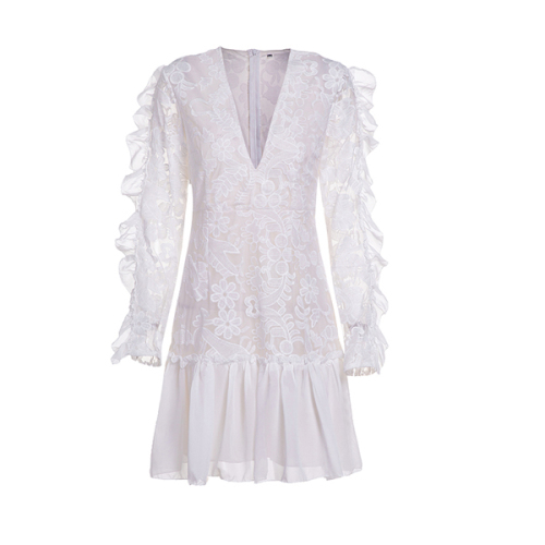 Sexy Club Lace Women Dress Long Sleeve Fashion Evening Party Dresses White Elegant White Autumn Dress