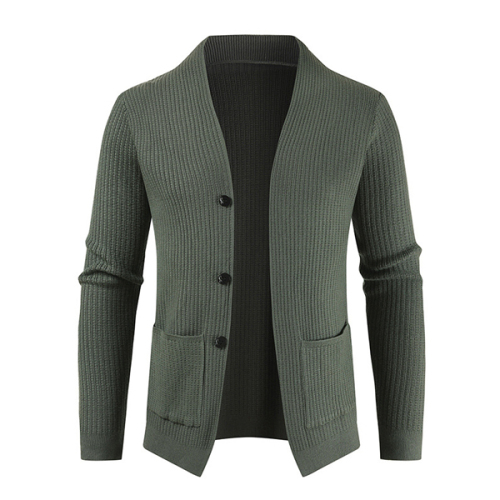 Autumn Men's Cardigan Solid Single Breasted V-neck Pocket Decor Knitting Wool Stretchy Casual Fashion Male Warm Sweater