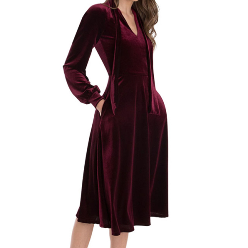 Vintage Red Elegant Women Dress Evening Party Long Sleeve Velvet Long Dresses